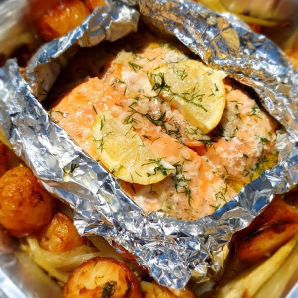 Baked Salmon with Honey, Lemon, Dill & Fennel for 2